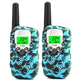 Walkie Talkies for Kids 22 Channel 2 Way Radio 3 Miles Long Range Handheld Walkie Talkies Durable Toy Best Birthday Gifts for 6 Year Old Boys and Girls fit Outdoor Adventure Game Camping (Camo Blue)