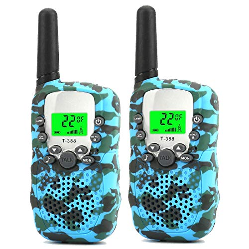 (Walkie Talkies for Kids, Kids Walkie Talkies Two-Way Radios with 22 Channels FRS/GMRS Pair of Walkie Talkies for Kids, Toys for Boys and Girls (Camo)