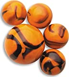 "Unique & Custom {5/8'' Inch} Set of 24 ""Round"" Opaque Marbles Made of Glass for Filling Vases, Games & Decor w/ Cool Tiger Stripe Safari Design [Orange & Black Colors] w/ Velvet Bag & 1 Shooter Marble"