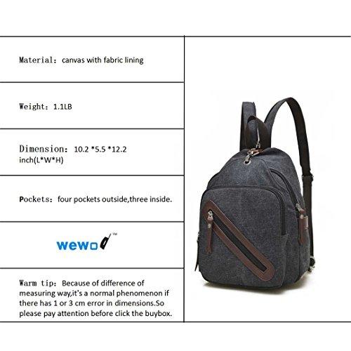 Wewod Hombres y Mujeres Outdoor Sports Retro Casual Bolsos de Viaje de Shopping Bolso de Bandolera Mochila de Pecho de Desequilibrio 26 x 31 x 14 cm (L*H*W) Negro