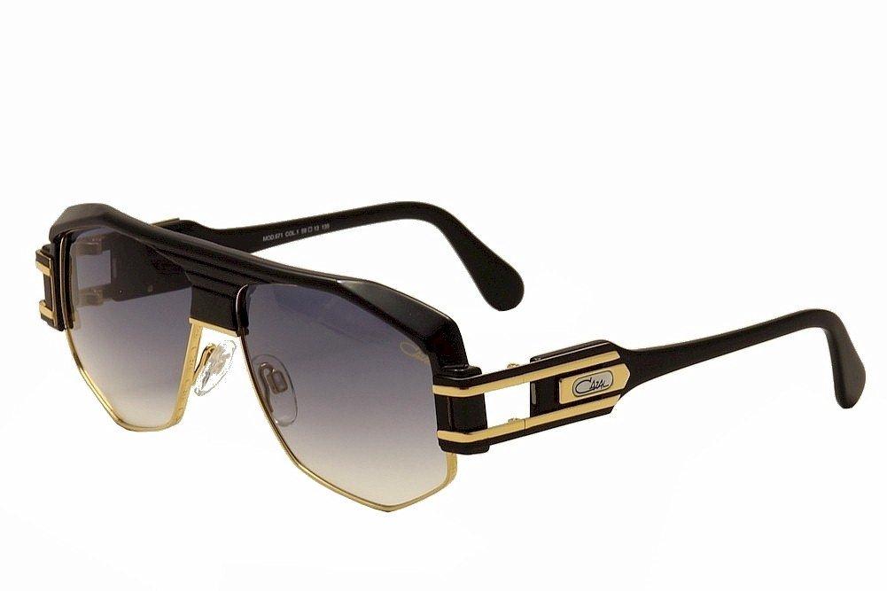 Cazal 671 001 Black Gold / Grey Gradient Vintage Sunglasses 59 mm