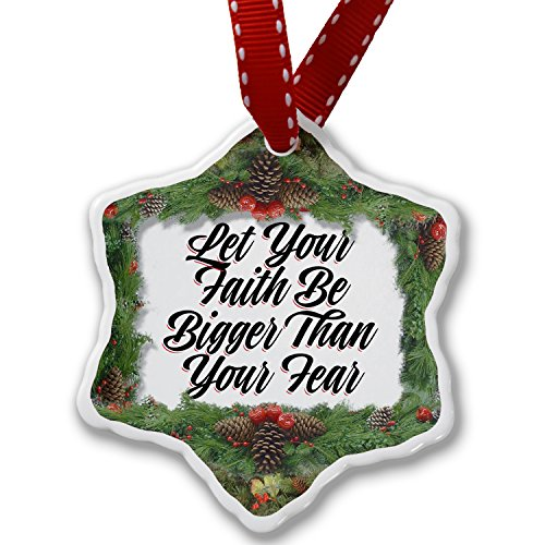 Christmas Ornament Vintage Lettering Let Your Faith Be Bigger Than Your Fear - Neonblond by NEONBLOND