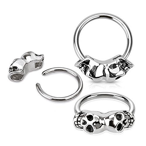 West Coast Jewelry {14 GA} Twin Skull 316L Surgical Steel Captive Bead Ring (Sold Ind.)