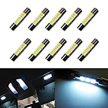 XT AUTO 10x 12V 30mm 1.23 inch 5050 3-SMD White LED Mirror Fuse Sun Visor 6641 Festoon Dome Light Bulbs