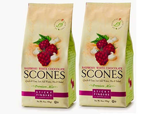Sticky Fingers Scone Mix (Pack of 2) 15 Ounce Bags - All Natural Scone Baking Mix (Raspberry White - Mix Raspberry Scone