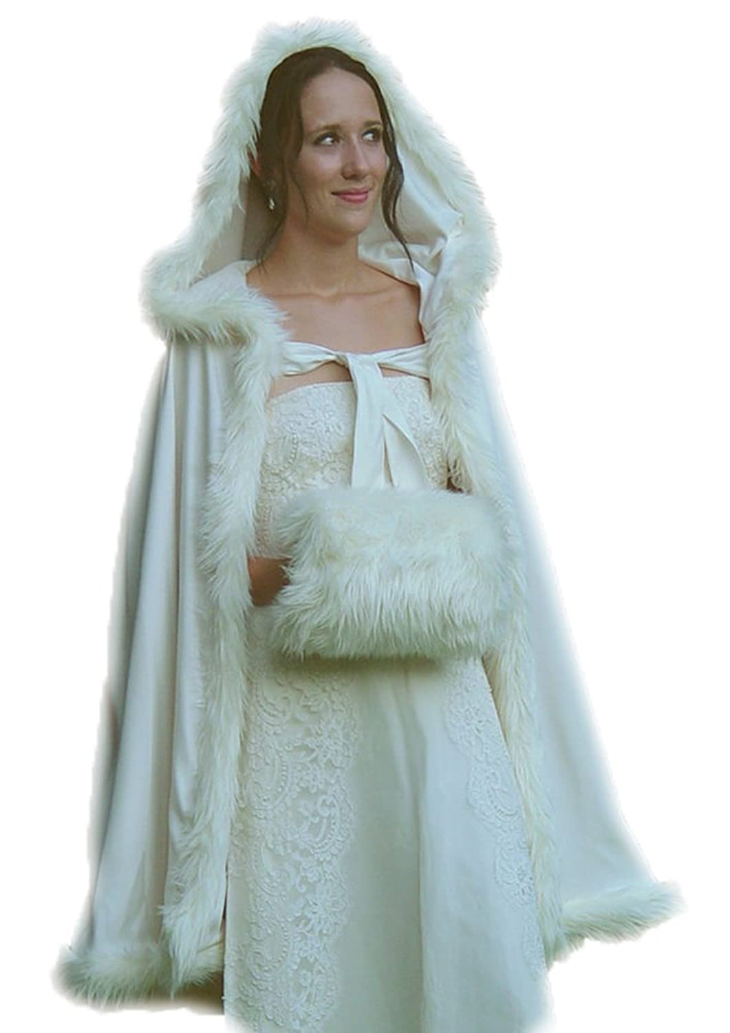 Womens Bridal Wedding Fur Hooded Cape Long Women Cloak Party Wrap Stole at Amazon Womens Clothing store: