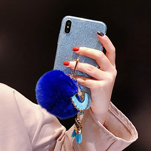 litter Case with Ring Holder,Blue Pom Pom Pendant Clear Soft Silicone Phone Case with 360 Degree Rotating Kickstand,QFFUN Shockproof Anti-Scratch Protective Back Cover - Blue ()