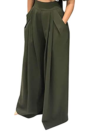 dd2f01b3d7a66 SHINFY Plus Size Wide Leg Pleated Palazzo Pants for Women - Loose Belted  High Waist Green