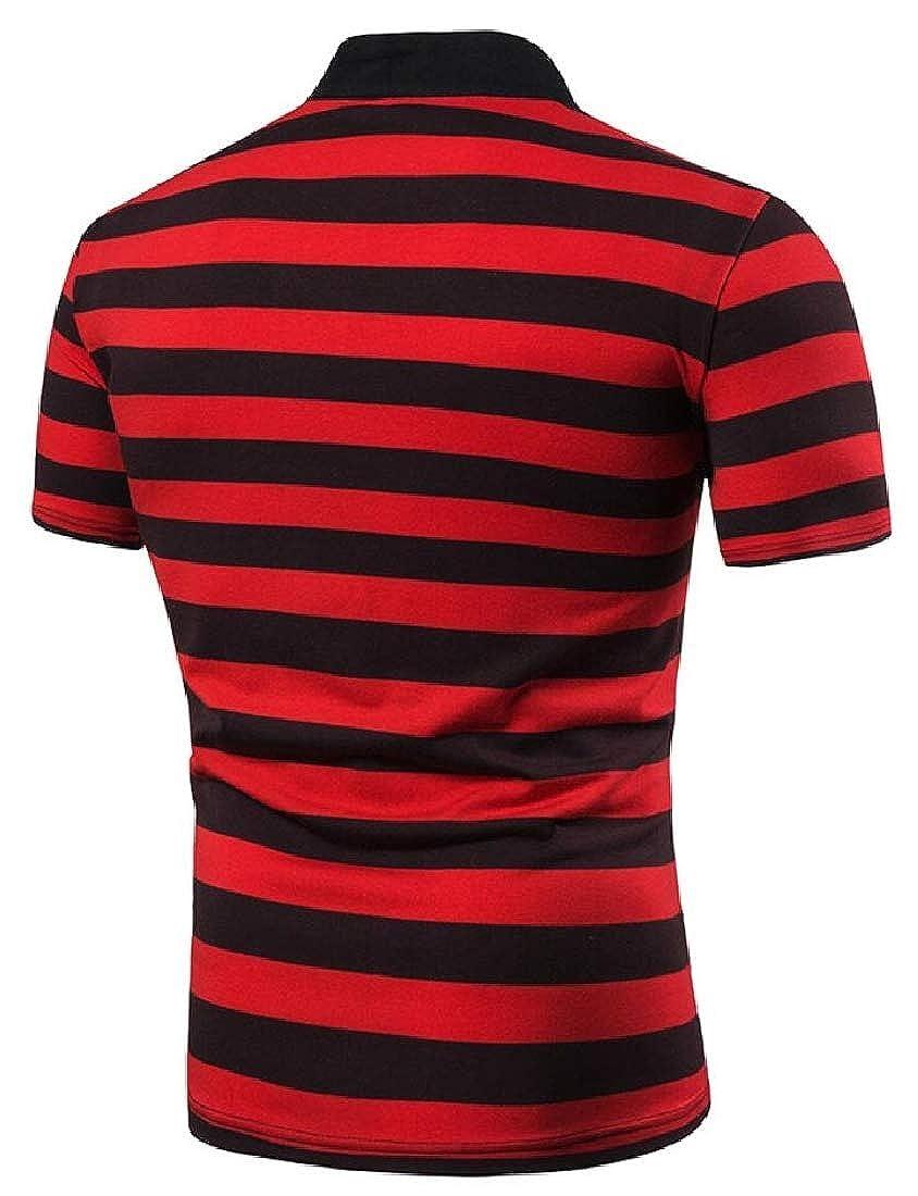 Alion Mens Polo Short Sleeve T Shirt Stripe Print Blouse Fashion T-Shirt