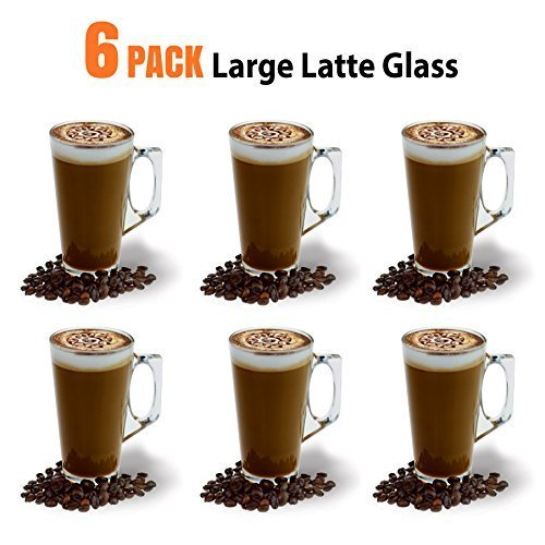 Large Latte Glass Coffee Cups - 385ml (13 oz) - Gift Box of 6 Latte Glasses - Compatible with Tassimo Machine (6 Pack) ANSIO