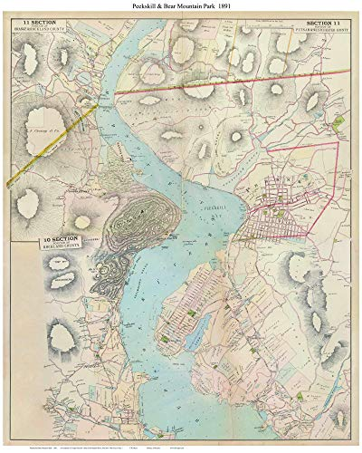 Peekskill & Bear Mountain Park 1891 Map - Custom Reprint Hudson River Valley New York Atlas