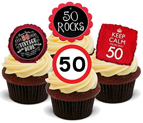 12 x 50 FIFTY 50TH BIRTHDAY RED BLACK MIX - Fun Novelty PREMIUM STAND UP Edible Wafer Paper Cake Toppers Decoration -