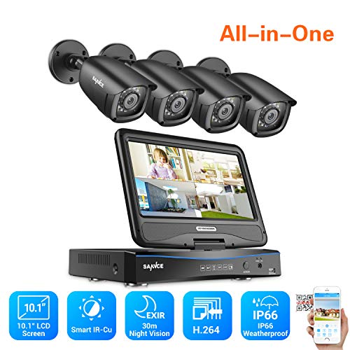 True All-in-One Home Security Camera System with Built-in 10.1″ LCD Monitor,4CH 1080N Surveillance DVR Recorder with 4Pcs 2MP Outdoor 66ft Night Vision Cameras, Easy Remote Access (No HDD Included)
