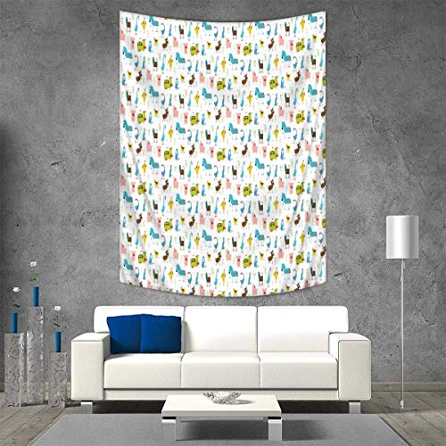 Anhuthree Cartoon Throw, Bed, Tapestry, or Yoga Blanket Farm Animals Pattern with Pig Rooster Cow Horse and Sheep Doodle Style Illustration Wall Art Home Decor 70W x 93L INCH Multicolor