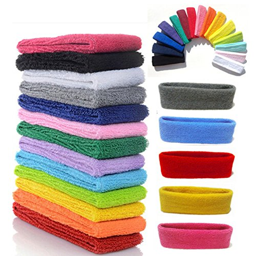Athletic Sweatband - Yeshan 12 Packs Wicking Stretchy Athletic Sweatband/Sport Headbands/Head wrap/Yoga Headband/Head Scarf/Best Looking Hairband for Sports or Fashion,Towel material