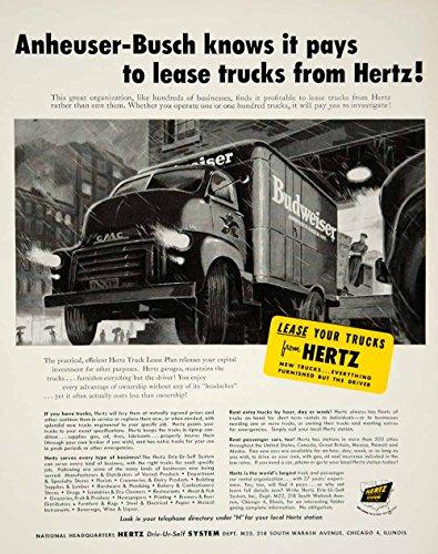 1952 Ad Hertz Truck Leasing Anheuser Busch Budweiser Truck Beer Car Rental Yft9   Original Print Ad