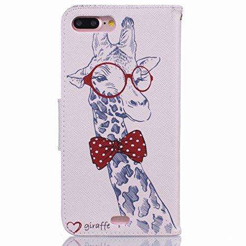 Custodia Apple iPhone 7 Pro Cover Case, Ougger Cartoon Giraffa Print Portafoglio PU Pelle Magnetico Stand Morbido Silicone Flip Bumper Protettivo Gomma Shell Borsa Custodie con Slot per Schede
