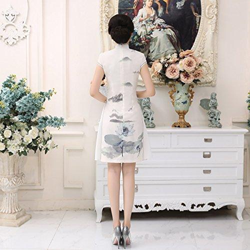 Robe Fleur lotus Fendu Court Asiatique Cheongsam Moulant Qipao Acvip Femme De Gris FPngXx