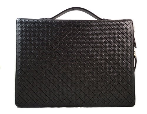 Brown leather folder A4 document file folder A4 braided weaved leather zipped folder bag made in Italy office folder document folder by ItalianHandbags