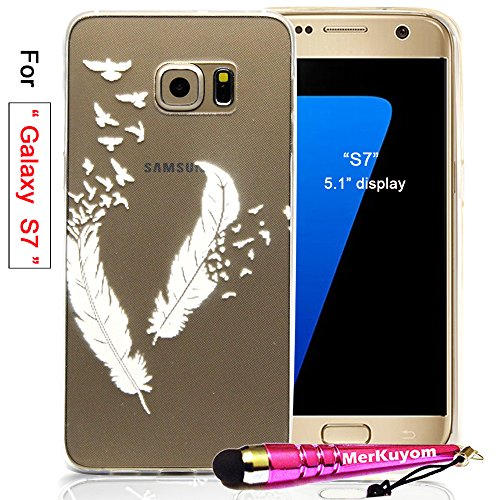 "Fit [Galaxy S7], Galaxy S7 Case, MerKuyom [Clear Transparent] [Slim-fit] Thin Flexible Gel Soft TPU Case Skin Cover For Samsung Galaxy S7 5.1"" Display, W/ Stylus (White Feather Birds)"