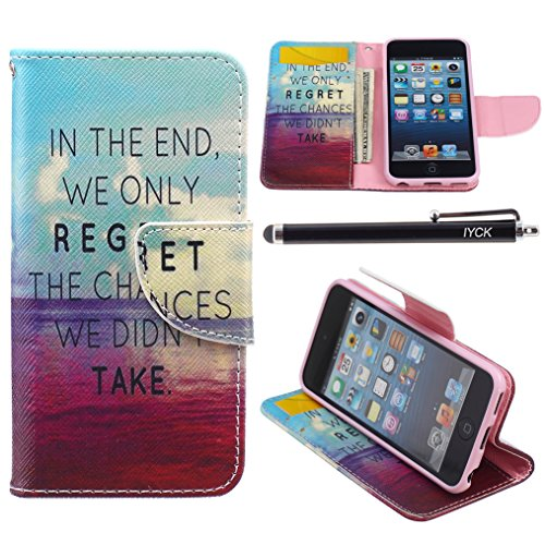 iPod Touch 5 Case, i Touch 6 Case Wallet, iYCK Premium PU Leather Flip Folio Carrying Magnetic Closure Protective Shell Wallet Case Cover for iPod Touch 5/6 with Kickstand Stand - In The End (Ipod Touch 5 Flip Cases For Girls)