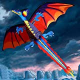 Winkey Toy for 5 6 7 8 9 +Years Old Kids Girls Boys, 3D Dragon Kite Kids Toy Fun Outdoor Flying Activity Game Children With Tail