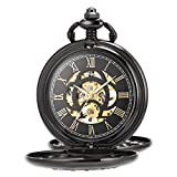 ManChDa Antique Automatic Mechanical Pocket Watch Lucky Dragon and Phoenix Skeleton Dial with Chain + Gift Box ... (3.Black with Black)