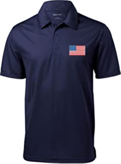 aec113b33180a6 US Flag Patch Men s Polo Shirt Navy at Amazon Men s Clothing store