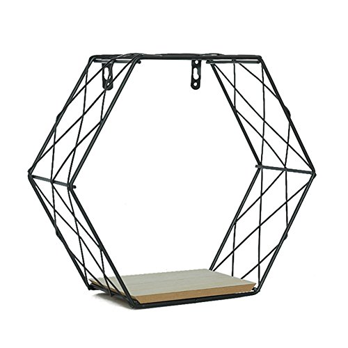 Topaty Geometric Metal Wire Hexagon Design Wall Mounted Floating Shelf Wall Decor for Living Room Bedroom (L, Black) Pack of 1 ()