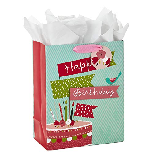 Hallmark 13 Large Birthday Gift Bag with Tissue Paper (Birthday Cake Flag, Pink and Blue)
