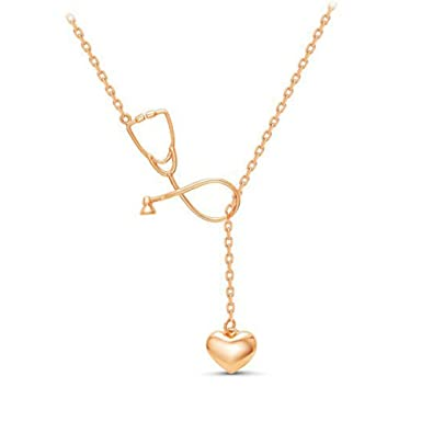 Amazoncom CHUYUN Rose Gold Silver Stethoscope Lariat necklace