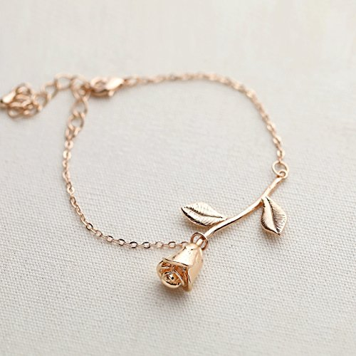 Rose gold plated rose pendant bracelet beauty and the beast jewelry rose gold plated rose pendant bracelet beauty and the beast jewelry rose bracelet bridesmaid bracelet gift flower girl gift 3mrbr aloadofball Images