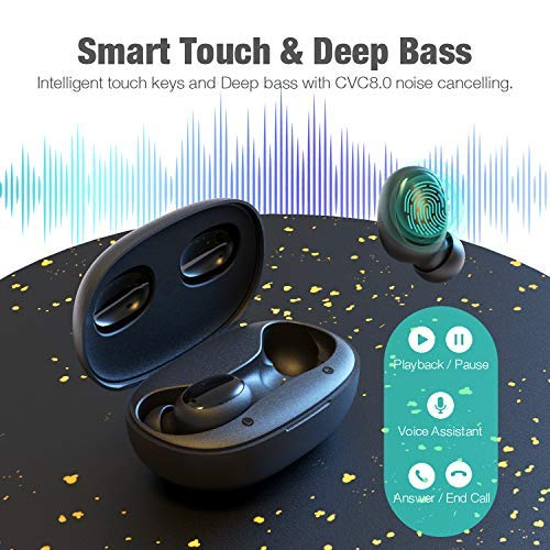 Otium Wireless Earbuds Bluetooth 5 0 Headphones Deep Bass 3d Stero Sound Mini Headsets 40h Total Playtime With Charging Case Ipx7 Waterproof Built In Mic Earphones For Work Sports Driving Gear Up To