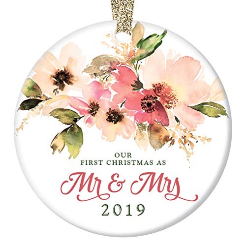 Mr & Mrs Christmas Tree Ornament 2019 Pretty Flowers Ceramic Keepsake Gift Idea for Newlywed Couple 1st Married Holiday as Husband & Wife 3