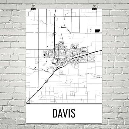 Amazon.com: Davis Map, Davis Art, Davis Print, Davis CA Poster ... on