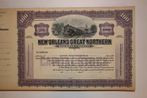 Railroad Stock Certificate for New Orleans Great Northern Railroad Company 100 shares, unused certificate, beautifully detailed ()