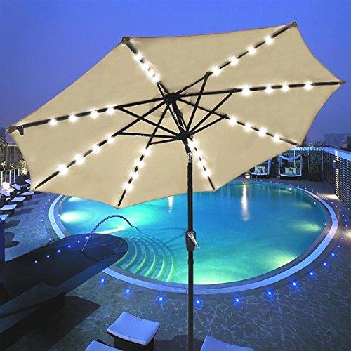 9' Outdoor Patio 32 LED Solar Powered Aluminium Umbrella Crank Tilt UV30+ 180g (Up Market Outdoor Furniture Perth)