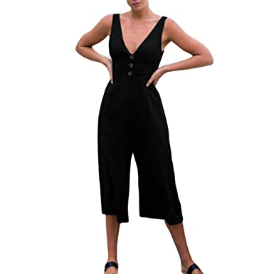 459e543a1ca Amazon.com  Bravetoshop Women Short Jumpsuit Deep V Neck Solid Wide Leg  Romper Sleeveless  Clothing