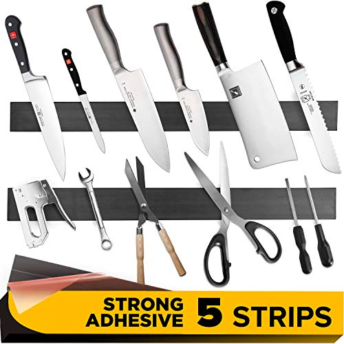 5 PCs Magnetic Tape - Knife Magnetic Strip with Adhesive Backing for Multipurpose Use as Magnet Tool Holder, Wall Knife Holder, Tool Rack, Knives Bar and Tool Stand for Garage ()
