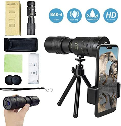 MUSJOS 1Set Upgrade Monocular Telescope 4k 10-300x40mm, Waterproof Zoom Portable Telescope, Night Telescopes for Adults with Phone Adapter/Tripod/Multi-Coated Optics (Upgrade)