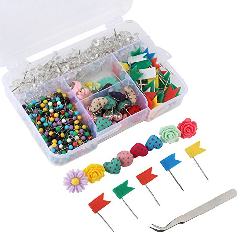 Yalis Push Pins Sets, 7 Kinds and Various Colors Thumb Tacks, 1/8-inch Colors Map Tacks and 3/8-inch Clear Pushpins for Office Work or Cork Board Decorations, 680-Count ()