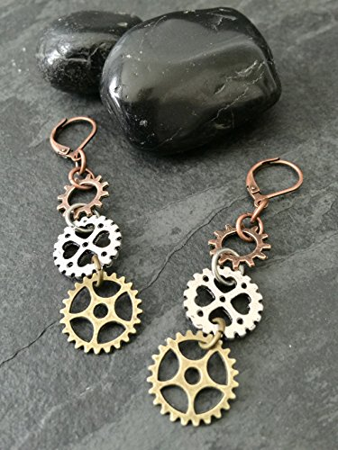Steampunk Bicycle Gear Earrings, Statement Earrings/Bicycle Earrings, Bicycle Jewelry, Bike Earrings, Bike Jewelry, Steampunk -
