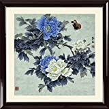 INK WASH Framed Large Oriental Chinese Watercolor Art Blue White Peonies Flowers Butterfly Wall Art Feng Shui Painting for Business Gift Home Decoration 29''x29''