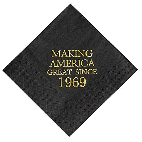 Crisky 50th Birthday Napkins Black and Gold Dessert