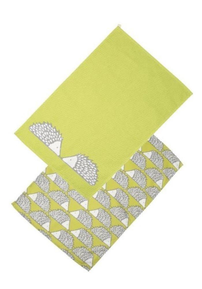 Spike The Hedgehog Set Of 2 Green Tea Towels By Scion Living