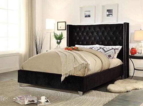 Meridian Furniture AidenBlack-K Aiden Velvet Upholstered Button Tufted Wingback Bed with Chrome Nailhead Trim and Custom Chrome Legs, King, (Custom Upholstered Beds)
