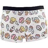 Santa Playa Sweets & Treats Super Soft Breathable Boxer Brief Trunk, Fun Print Men's Underwear :: Buttcakes (M, Cream)