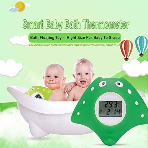 Wasserthermometer Baby Fisch Design,dunkelgr/ün Badethermometer Baby Uhr- und Timerfunktion mit LED Warnalarm Badethermometer Baby digital