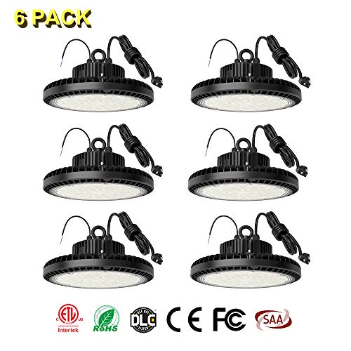 TREONYIA [6-Pack] 200W UFO LED High Bay Light, 28000LM 1-10V Dimmable 5000K, 5' Cable with US Plug, ETL&DLC Listed (800W HID/HPS Equivalent), LED Warehouse Lighting Lamp Fixture, IP65 -