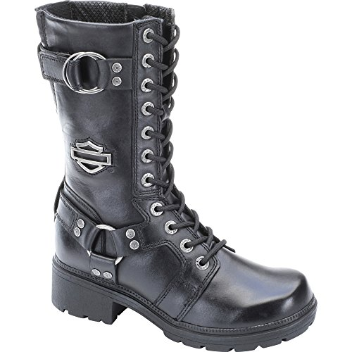 "Harley-Davidson Womens Eda 9"" Motorcycle Boot Black Leather Zipper D83736 6.5"